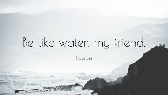 """Be like water, my friend."" - Bruce Lee"