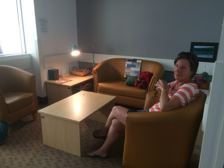 Evie in the loungey waiting area