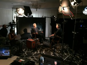 """Aug. 14, 2016 - Tommy Edison interviews actor Stephen Lang at the """"Don't Breathe"""" press junket"""