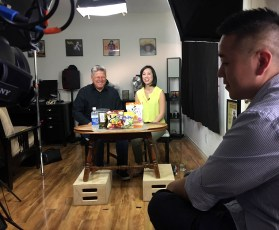 March 2, 2017 - Tommy Edison and Christine Ha (Christine's husband John Suh watches the monitor off-camera)