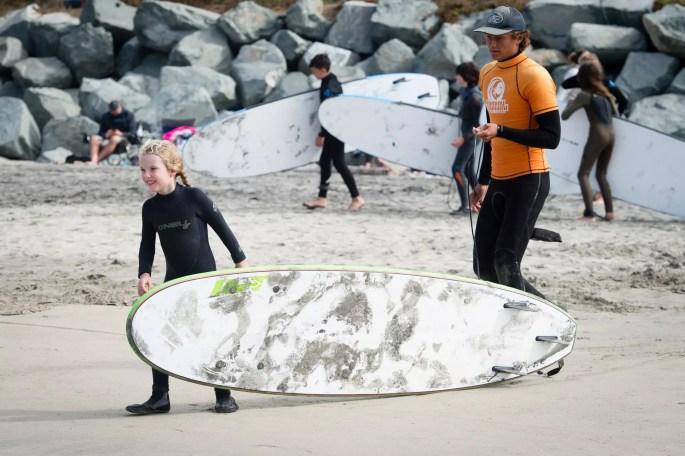 kid going surfing