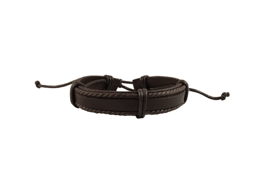 Brown Leather Wristband with Hemp Cord - Assorted Styles