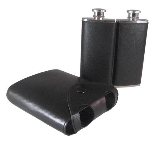 Twin Stainless Steel Hip Flasks in Leatherette Case