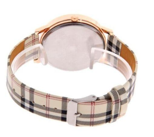 Watch with Large Dial, Plaid Band & Rose Gold Colour Casing