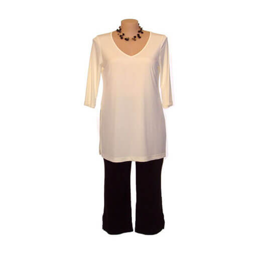 Plus Size V-Neck Top with 3/4 Length Sleeves