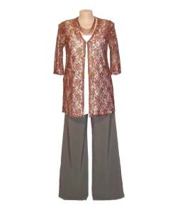 Plus Size 3/4 Sleeve Summer Jacket - Choc / Cherry Print