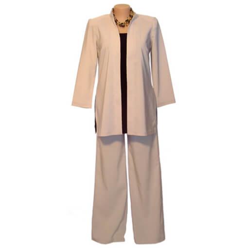 Long Line Suit Jacket - Bengaline Cotton - Pebble