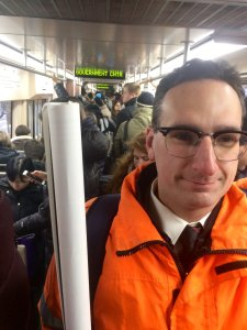 Tommy Vitolo riding the Green Line to the State House