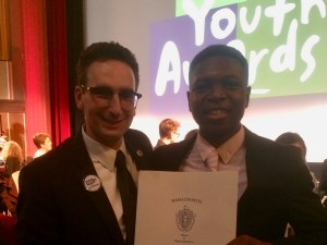 Tommy Vitolo with Brookline Youth Award Winner