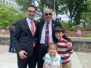 Tommy Vitolo with his children and Bill McGroarty on Memorial Day