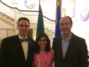 Tommy Vitolo Ana Albuquerque and Rui Albuquerque at a National Day of Portugal reception at the Botolph Club