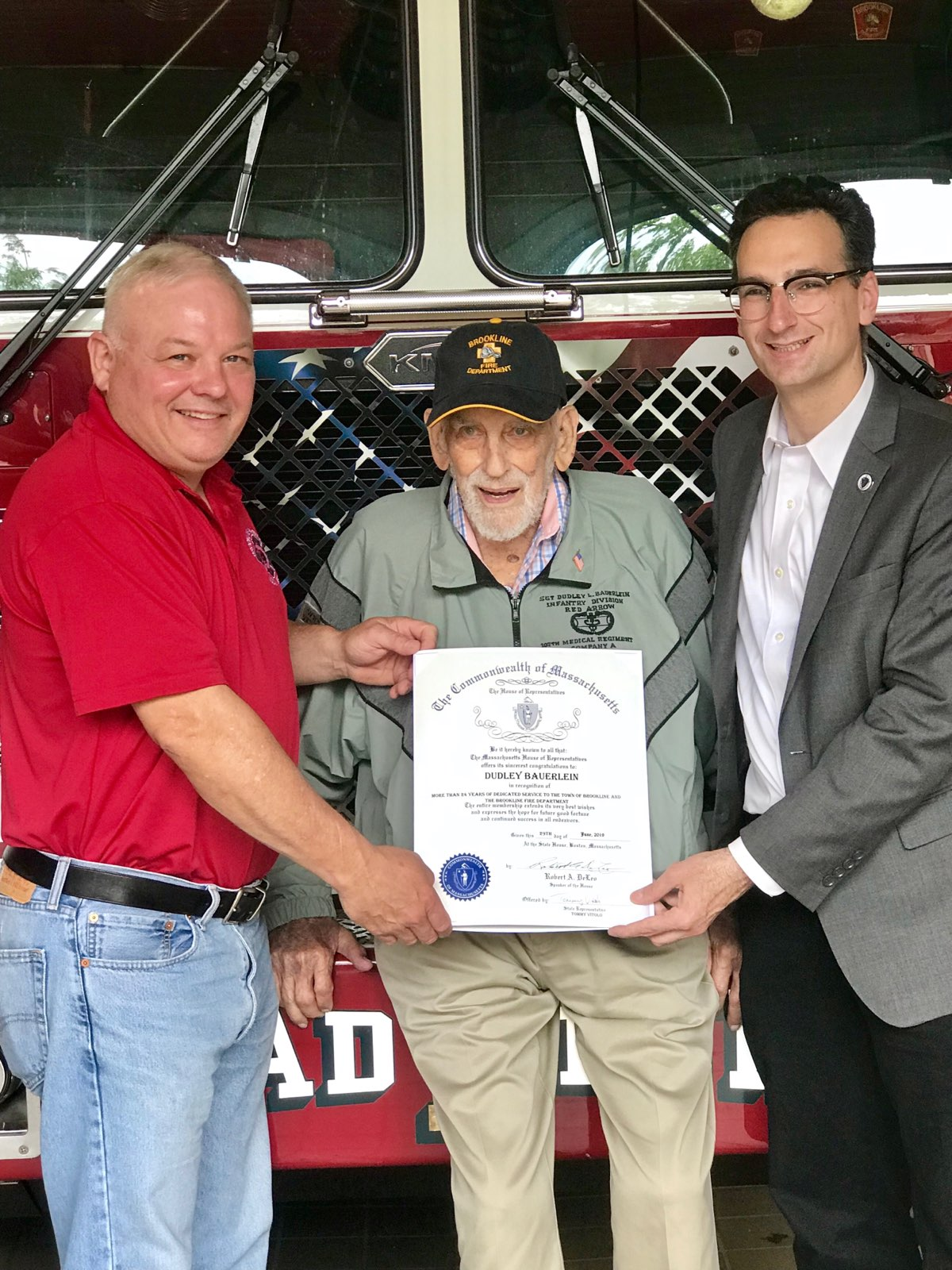 Tommy Vitolo presenting citation to retired Brookline Fire Fighter Dudley Bauerlein with Paul Trahon