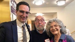 Tommy Vitolo with Ralph and Sylvia Memolo at the Brookline Senior Center