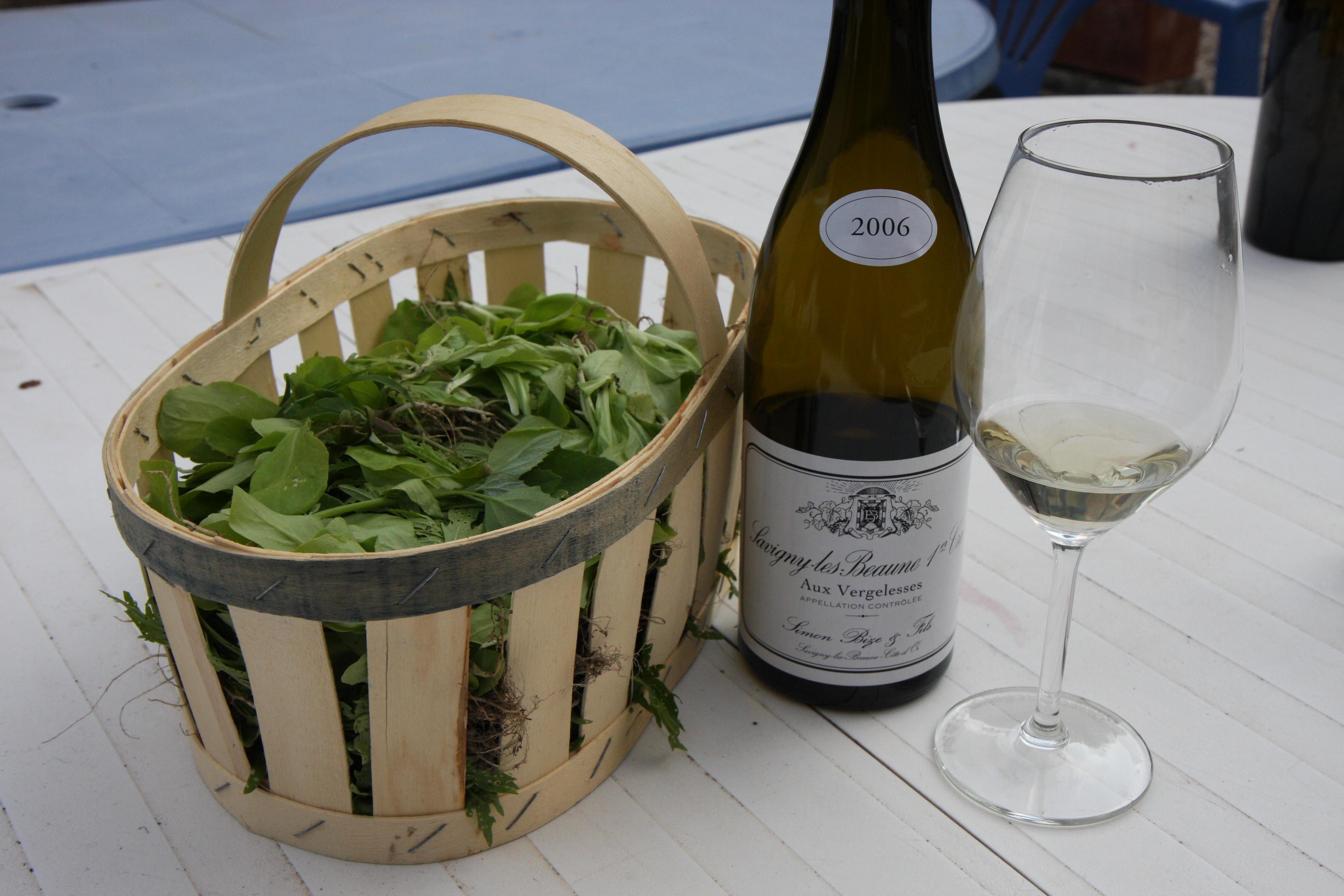 Fresh garden greens with Bize wine