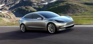 Tesla Model 3 on the road