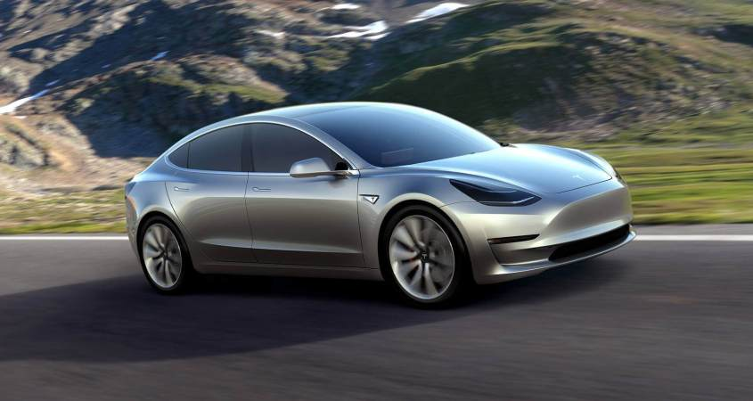 Tesla Model 3 on the road