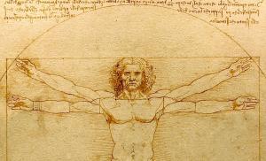 Leonardo da Vinci's Vitruvian Man detail