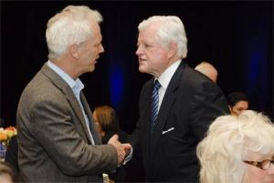 Original photo of Dan Fisher shaking hands with Ted Kennedy