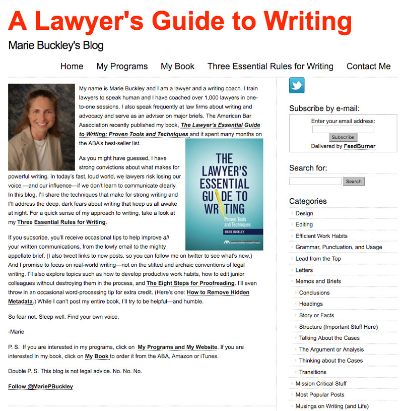 A Lawyer's Guide to Writing - Marie Buckley's Blog