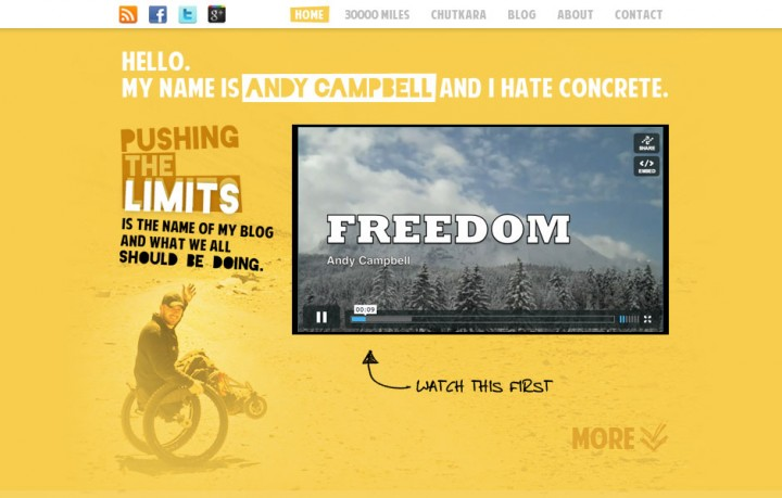 Screenshot of Andy Campbell's website pushingthelimits.com