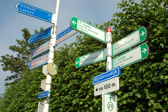 Cycle route signposting in the Netherlands