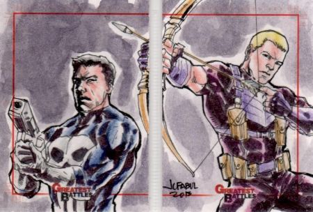 Hawkeye and The Punisher Sketch Card Puzzle