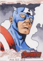 2015 Upper Deck UD Age of Ultron Sketch Card Hill captain america Sketch Card Artist