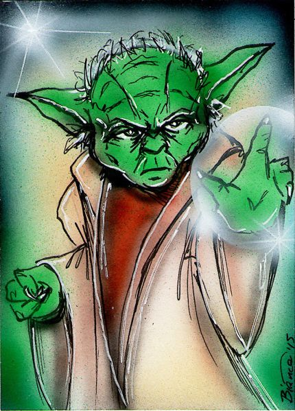 STAR WARS YODA Original Sketch Card Painting by Bianca Thompson Sketch Card Artist