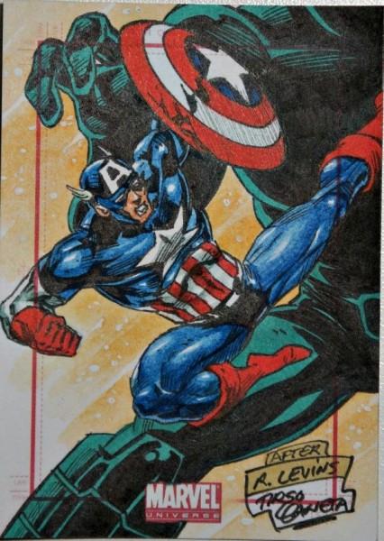 2014 Marvel Universe 2 Sketch TIRSO LLANETA Captain America Sketch Card by a Wonderf Sketch Card Artist