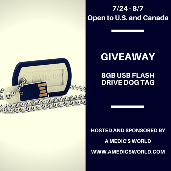 8GB USB Flash Drive Dog Tag Giveaway over at A Medic's World, ends 8/7 #veteran #military #USB