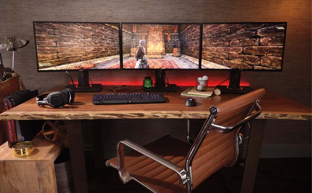 you will never see a pc gaming station with one monitor nowadays they use multiple monitors it is a good idea to leave room for growth - Gaming Room