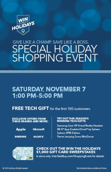 Special Holiday Shopping Event at Best Buy - 11/7 Only Get some amazing deals, and be part of an amazing event.