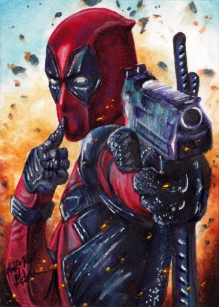 Sketch Card Artist of the Day 02/23/16 – Deadpool by Mick & Matt Glebe This is all hand drawn, colored, and sketched by amazing artists.