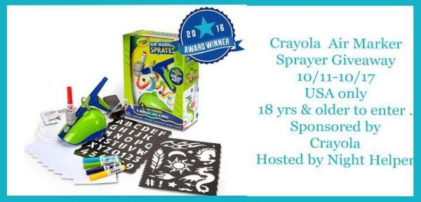 Crayola Air Marker Sprayer Giveaway - Let the artist free! Good Luck from Tom's Take On Things, make my day, and share my site with others!