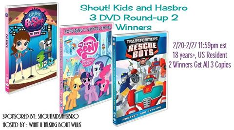 Hasbro 3 DVD Round-up Giveaway. 2 Winners will receive all 3 DVD's