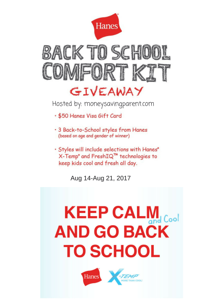 $50 Gift Card Giveaway and Hanes Back to School Prize Pack Ends 8/21