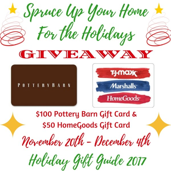$100 Pottery Barn Gift Card and a $50 HomeGoods/TJ Maxx/Marshalls Gift Card Giveaway Ends 12/4