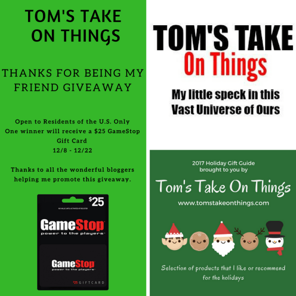 $25 GameStop Gift Card ~ Thank You For Being My Friend Giveaway Ends 12/23