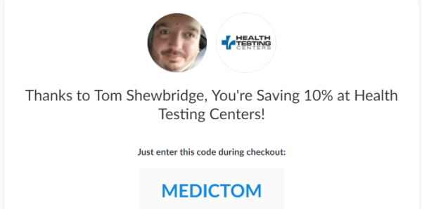 Health Testing Centers provides easy ways to get lab tests done - Save 10% off with my promo code