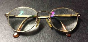Picture of an example of anti-reflective lenses, in a pair of eyeglasses.