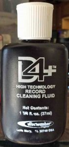 Picture of a 1.25 ounce bottle of Discwasher D4+ by RCA Vinyl Record Cleaning Solution.