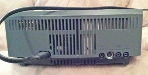 Picture of the back of the first version of the Bose Wave music system. Bose radio CD player.