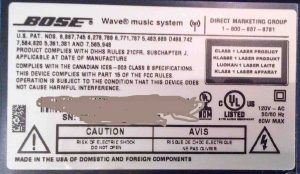 Picture of the Underside Label on the Bose Wave Music System, First Version.
