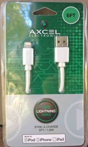 Picture of the packaged Axcel USB Lightning Sync Charge Cable for iPad, iPhone, and iPod.