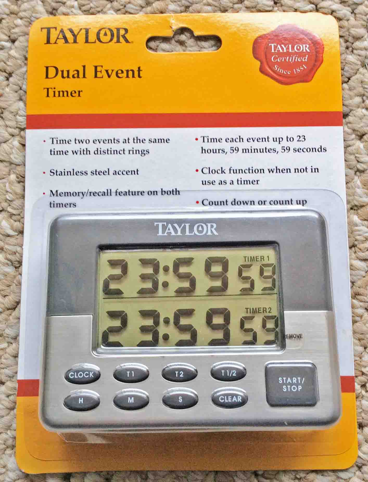 Picture Of The Packaged Taylor Dual Event Count Up And Count Down Timer