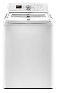 Picture of the Maytag Bravos MVWB750WQ high efficiency clothes washer, showing the front view.