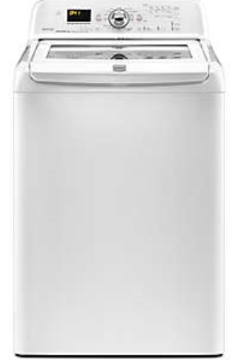 Picture of the Maytag Bravos high efficiency clothes washer, showing the front view.