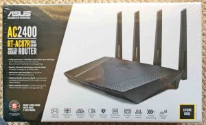 Picture of the front view of the carton for the Asus AC2400 RT-AC87R Dual Band Wifi Router.