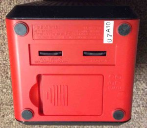 Picture of the 12500 weather radio, bottom, showing the volume, tuning controls, and battery compartment.