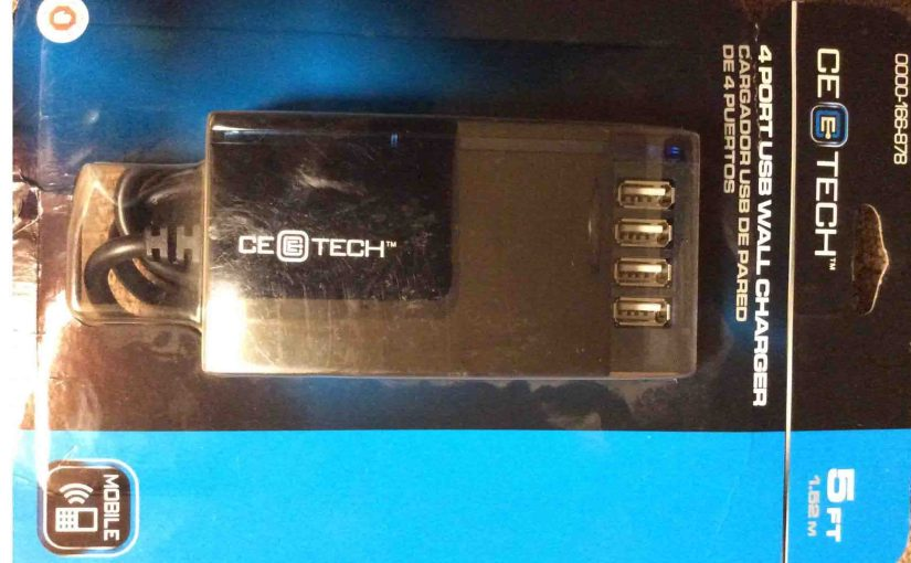 CE Tech USB Charger 166878 PC01 Review, 4 Port, Wall